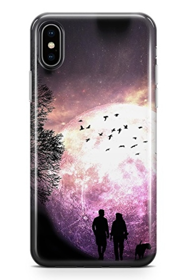 Lopard iPhone Xs Max Kılıf Silikon Arka Kapak Koruyucu Aya Yürümek Desenli Full HD Baskılı Renkli